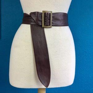 Vtg 80s brown leather slide buckle belt